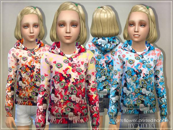 Sims 4 Girls Flower Printed Hoodie by lillka at TSR
