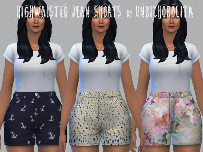 Sims 4 Printed highwaisted denim shorts at Un bichobolita