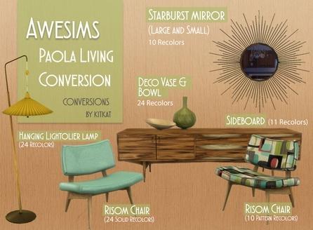 Sims 4 Awesims Paola Living Set at Kitkat's Simporium