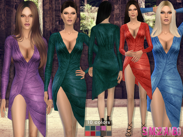 Sims 4 Velvet dress by sims2fanbg at TSR