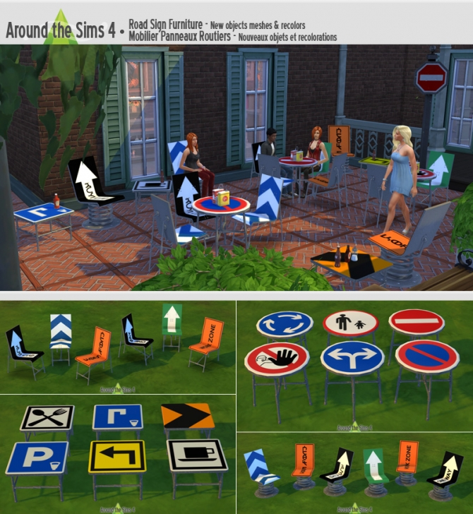 Sims 4 Road Sign outdoor furniture at Around the Sims 4