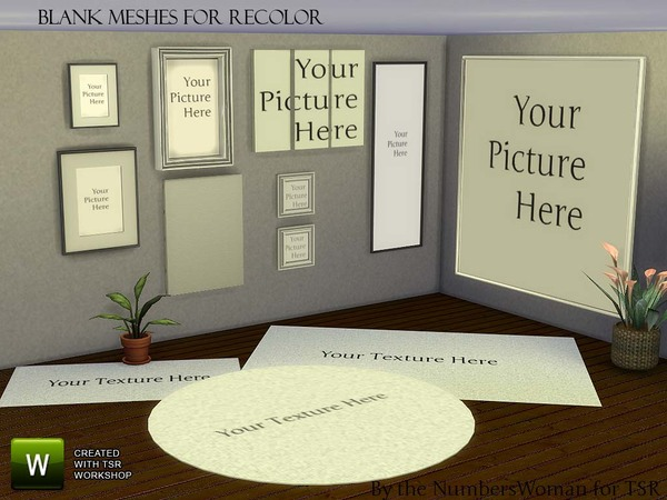 Sims 4 Blank Meshes Canvas and Rugs by TheNumbersWoman at TSR