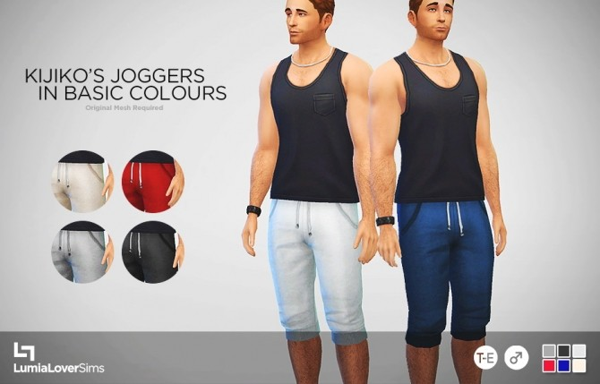 Sims 4 Kijiko's joggers 6 basic colours at LumiaLover Sims