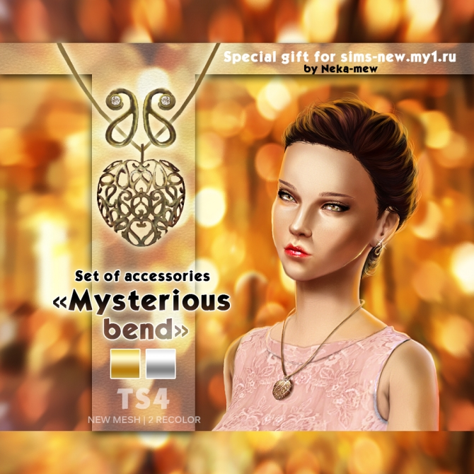 Mysterious bend necklace and earrings at Neka mew image 802 Sims 4 Updates