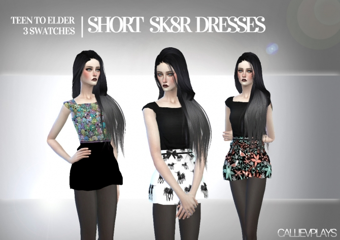 Sims 4 Short sk8r dresses at CallieV Plays