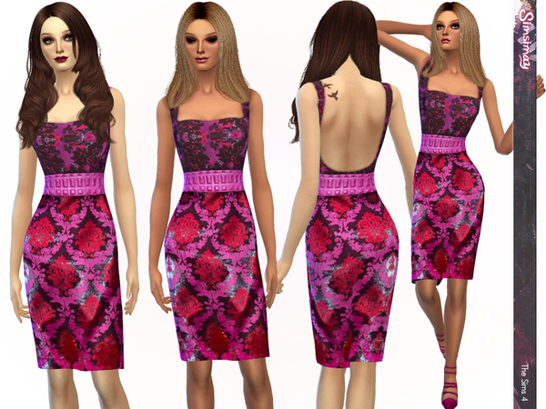 Sims 4 Modern Damask Bodycon Dress by Simsimay at TSR