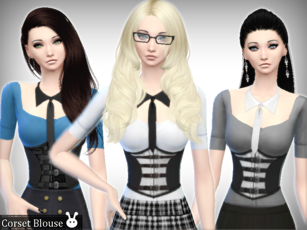Sims 4 Corset Blouse by XxNikkibooxX at TSR