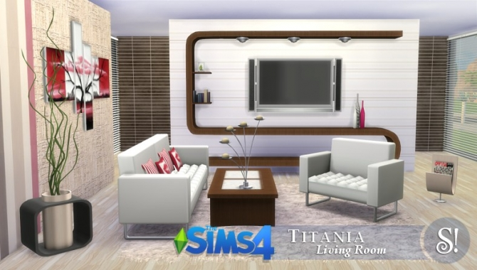 Titania livingroom at simcredible designs 4 sims 4 updates for Sims 4 living room ideas
