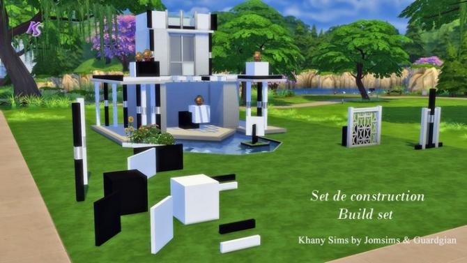 Sims 4 Black & White blocks, columns and walls at Khany Sims