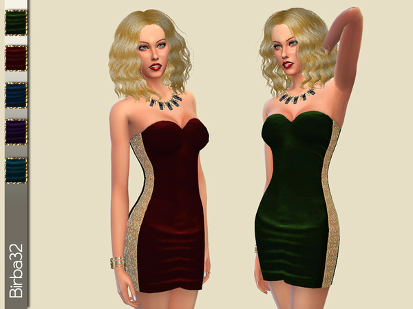 Sims 4 Velvet and gold dress by Birba32 at TSR