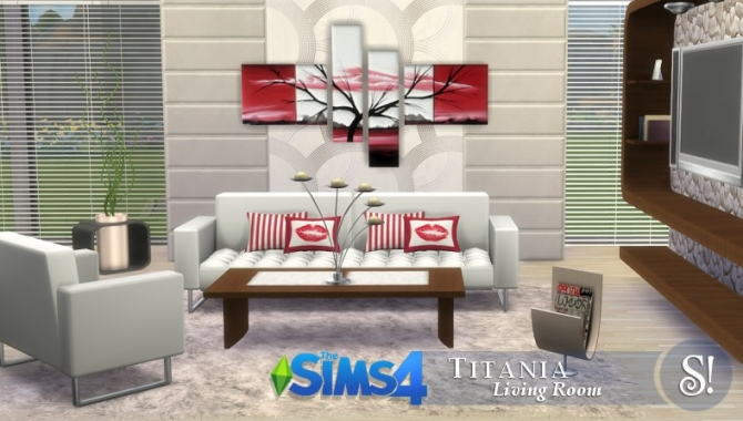 Titania livingroom at simcredible designs 4 sims 4 updates for Living room designs sims 4