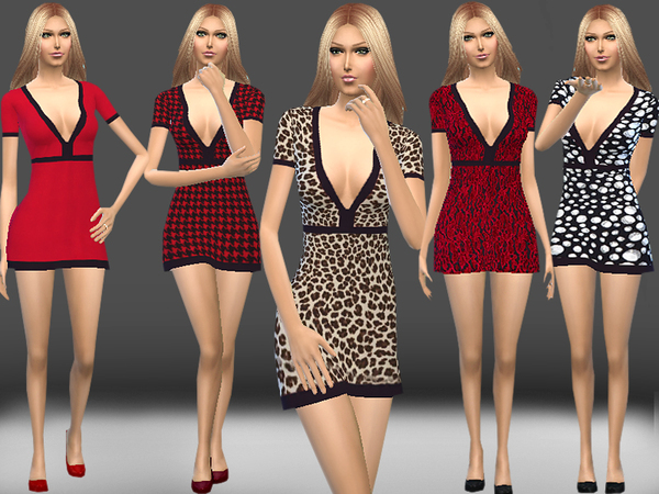 Deep V Neck Dress by melisa inci at TSR image 9321 Sims 4 Updates