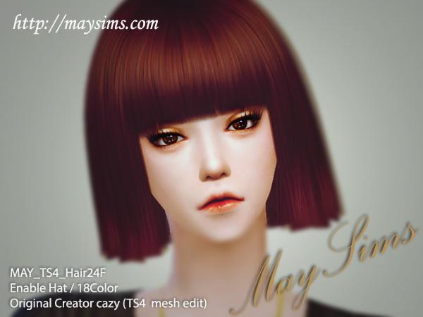 Sims 4 Hair edit 24F (Cazy) at May Sims