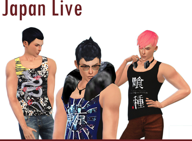 Japan Live Male tank tops 12 patterns at CCTS4 image 94 Sims 4 Updates