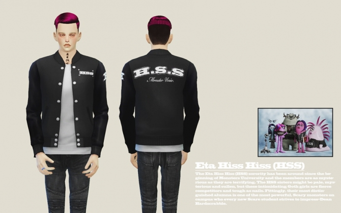 Sims 4 Monsters University Jacket Set at LILO Sims4