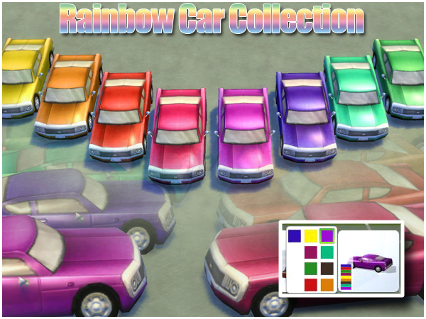 Rainbow Cars by Waterwoman at Akisima image 994 Sims 4 Updates
