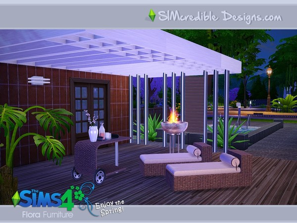 Flora Outdoor Furniture By Simcredible At Tsr 187 Sims 4