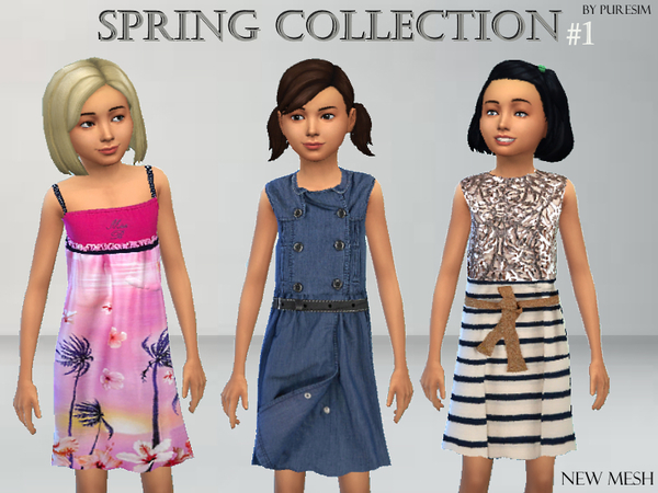 Dress Collection for Girls by Puresim at TSR image 1050 Sims 4 Updates