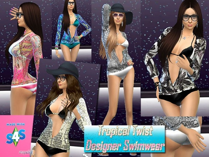 Sims 4 Tropical Twist Designer Swimwear by mayasims at Mod The Sims