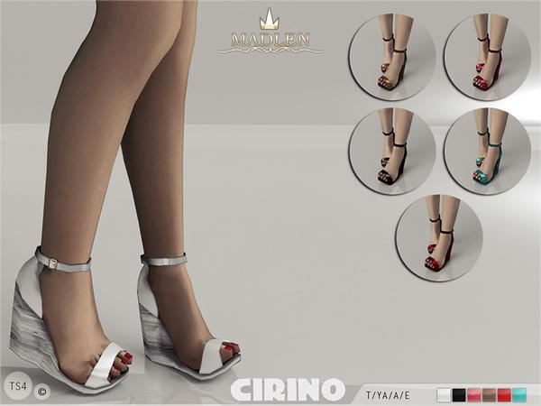 Sims 4 Madlen Cirino wedge sandals by MJ95 at TSR