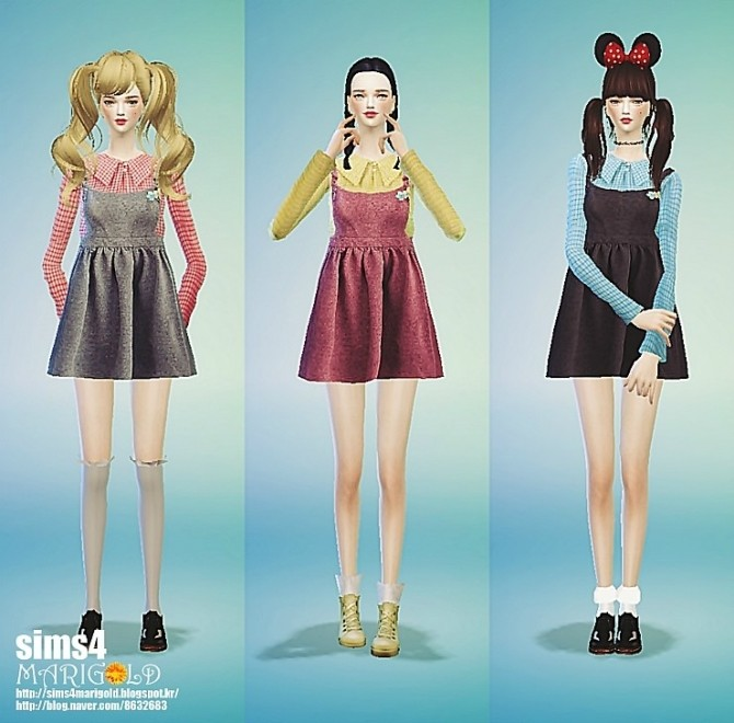 Sims 4 Check blouse&suspender onepiece at Marigold