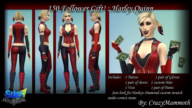 Sims 4 Arkham Cities Harley Quinn at Crazy Mammoth
