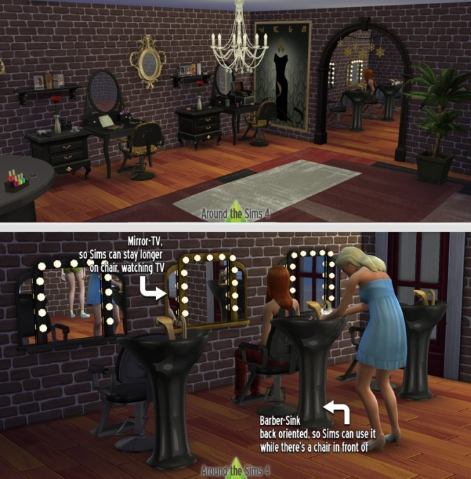 Beauty salon 2 by sandy at around the sims 4 sims 4 updates for Salon moderne sims 4