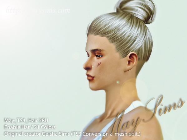 Sims 4 Hair 28U (TS3 Geisha) at May Sims