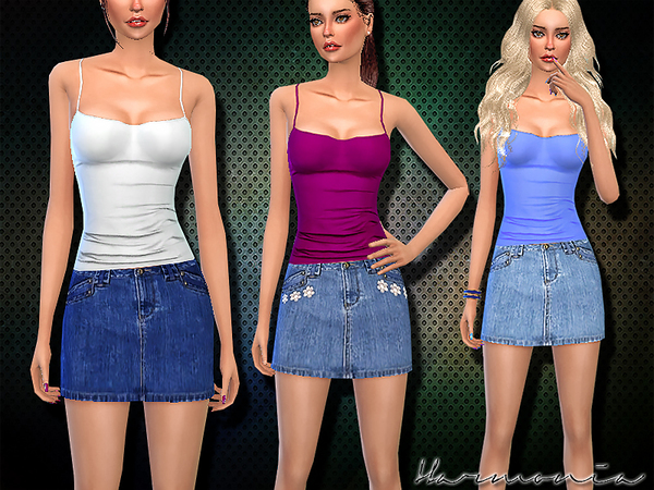 Sims 4 Denim mini skirt and tank top by Harmonia at TSR