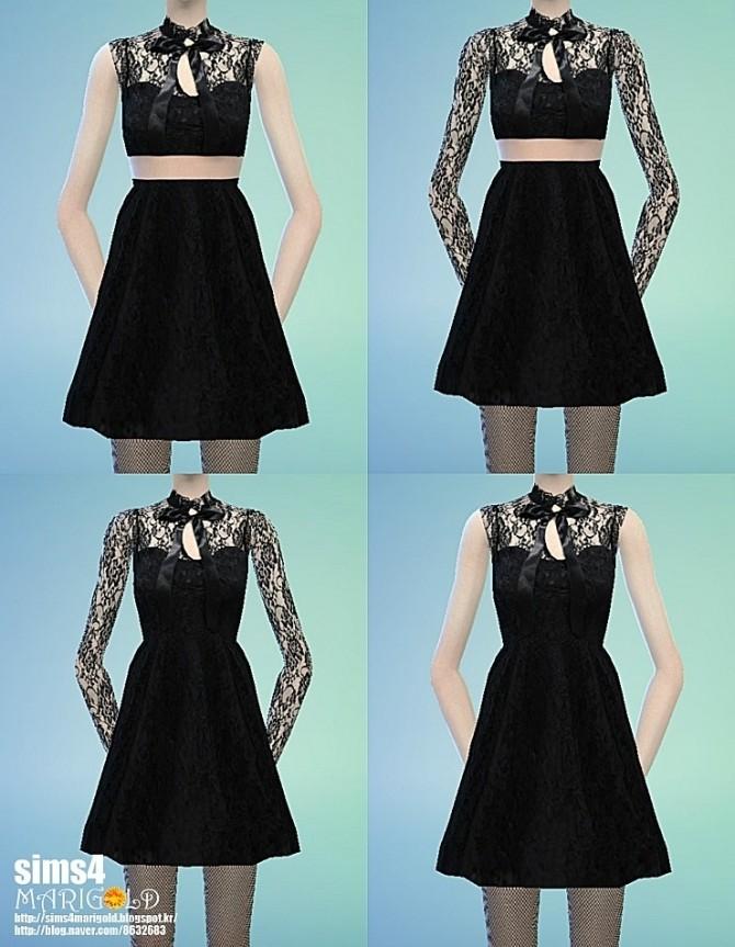Ribbon lace black dress at Marigold image 1214 670x863 Sims 4 Updates