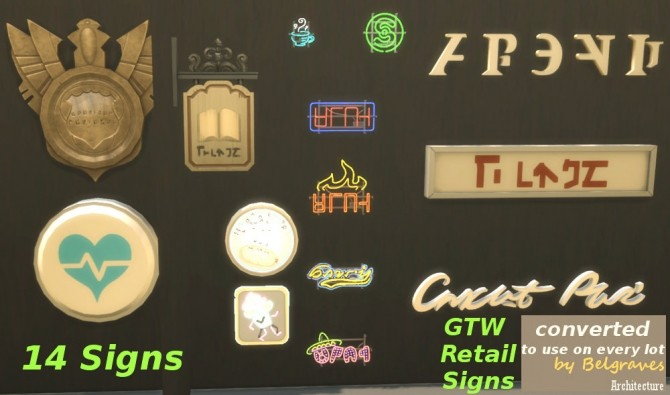 Sims 4 14 Wall Signs and 13 Shields at Leander Belgraves