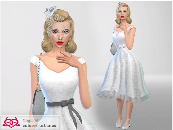 Sims 4 Rockabilly dress lace by Colores Urbanos at TSR