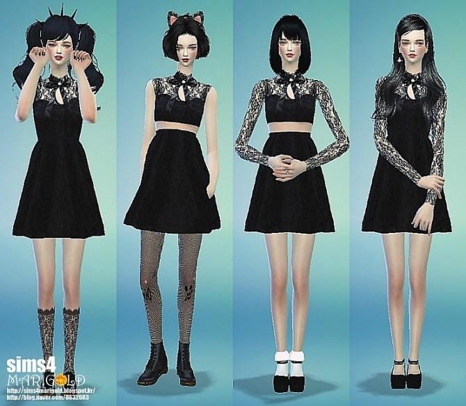 Ribbon lace black dress at Marigold image 1313 670x584 Sims 4 Updates