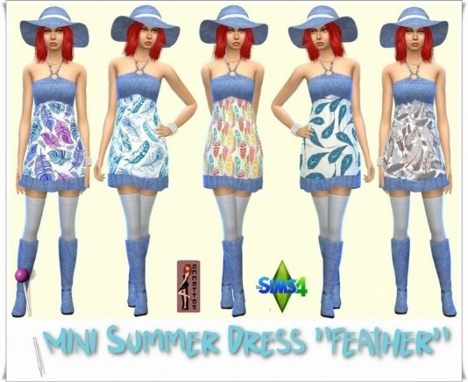 Sims 4 Mini Summer Dress + Denim Boots & Hat at Annett's Sims 4 Welt