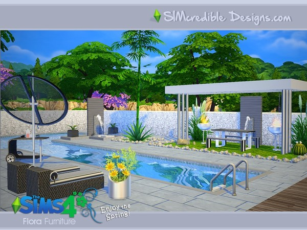 Flora outdoor furniture by SIMcredible! at TSR image 14109 Sims 4 Updates