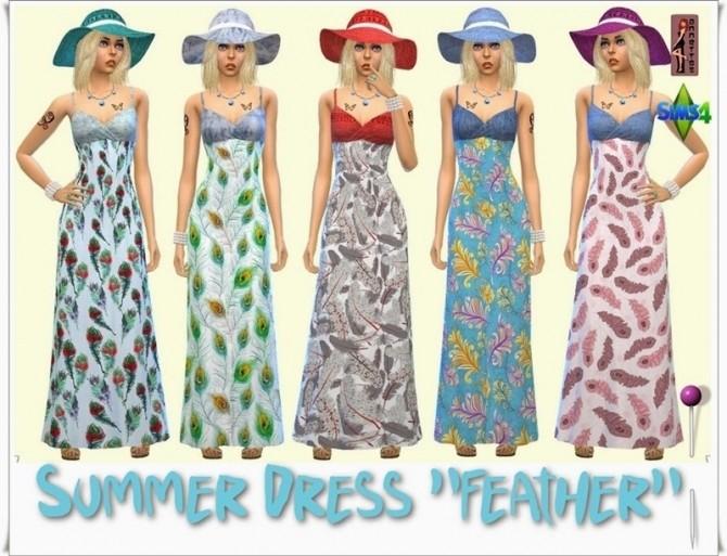 Sims 4 Feather Maxi Summer Dress  & Denim Hat at Annett's Sims 4 Welt