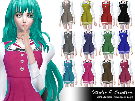 Sims 4 Maid dress Miya Retexture at Studio K Creation