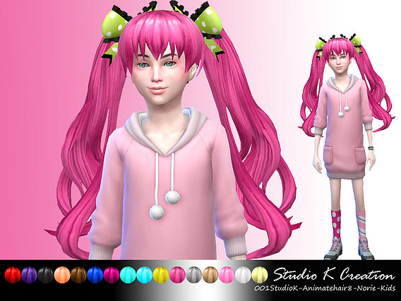 Animate Hair 8 Norie For Kids At Studio K Creation 187 Sims