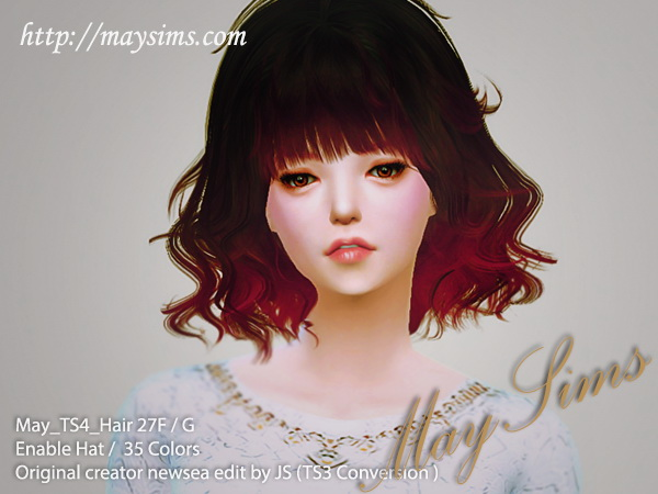 Sims 4 Hair 27 F (Newsea edit by JS) retextured at May Sims