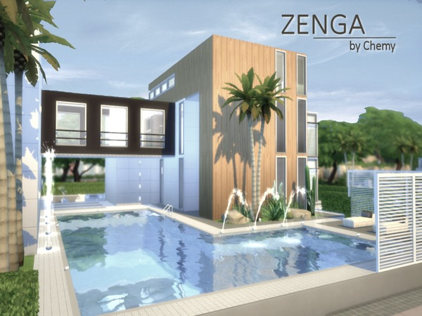 Zenga house by chemy at tsr sims 4 updates for Sims 4 modern house plans