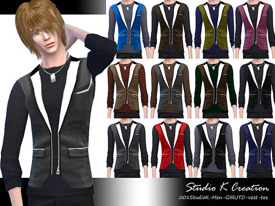 Sims 4 GIRUTO 1 jacket, vest tee and shorts for males at Studio K Creation