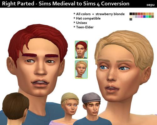 Sims 4 Right parted Medieval hair conversion at Oepu Sims 4