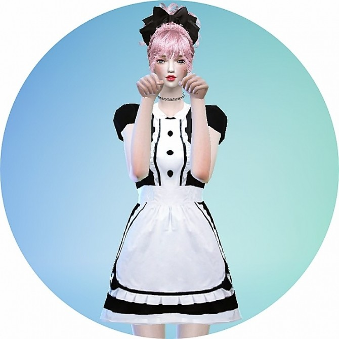 Sims 4 Maid onepiece outfit at Marigold