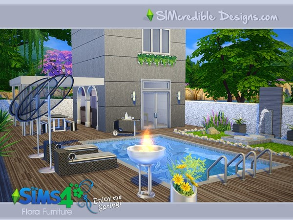 Flora outdoor furniture by SIMcredible! at TSR image 16106 Sims 4 Updates