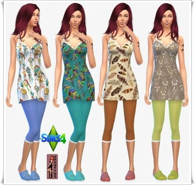 Sims 4 Feather Nightie & Leggings & Slipper at Annett's Sims 4 Welt