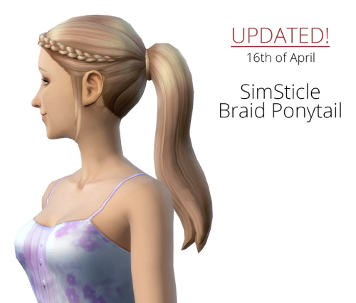 Sims 4 Braid Ponytail updated at SimSticle