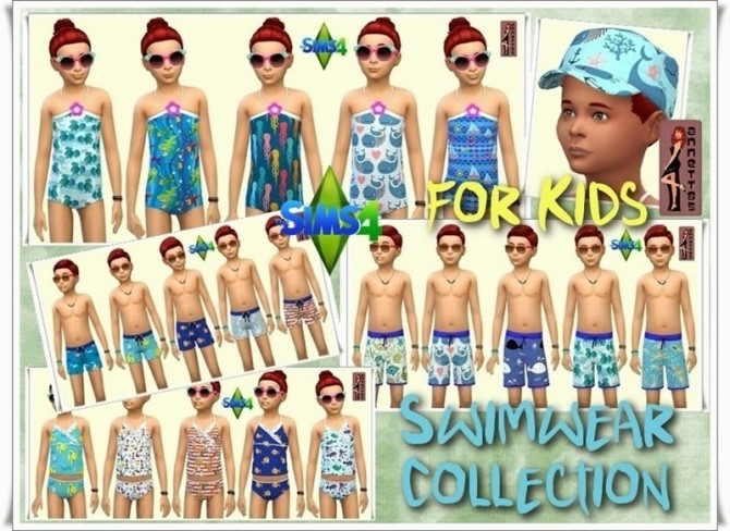 Sims 4 Swimwear Collection for Kids at Annett's Sims 4 Welt
