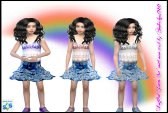 Cute Ruffled Jeans Set for girls at Amberlyn Designs image 18015 Sims 4 Updates