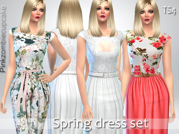 Sims 4 Spring Dress Set by Pinkzombiecupcakes at TSR