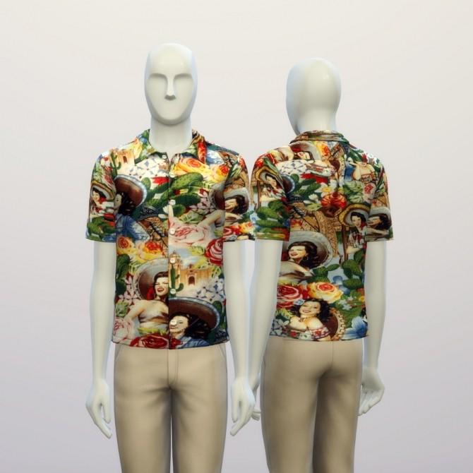 Sims 4 Vintage Pin up girl printed shirt at Rusty Nail
